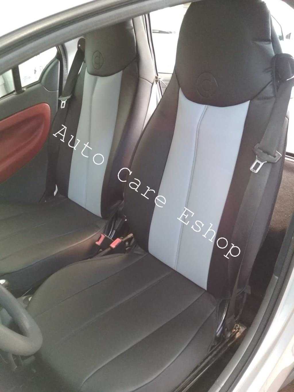 Ημικαλύμματα Αυτοκινήτου Coverstyle δερματίνη  για Smart Γκρι-Μαύρο, 2τμχ
