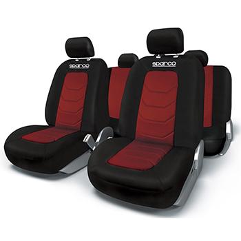 Κάλυμμα Καθισμάτων Πλήρες Sparco Polyester Mesh (Μαύρο-Κόκκινο)